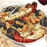 Red Lobster Menu Illustration